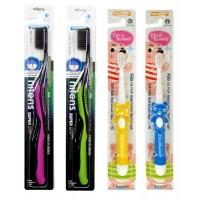 Набор мягких зубных щеток «Семейный»: для детей 3-8 лет и для взрослых с древесным углем, сверхтонкой двойной щетиной и изогнутой ручкой, 4 шт.
