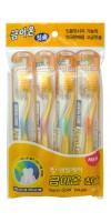 Nano Gold Toothbrush Set / Набор: Зубная щетка c наночастицами золота и сверхтонкой двойной щетиной (средней жесткости и мягкой), 4 шт