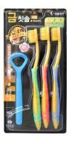 Nano Gold Toothbrush Set / Набор: Зубная щетка c наночастицами золота и сверхтонкой двойной щетиной (мягкой и супермягкой), 3шт + скребок для языка