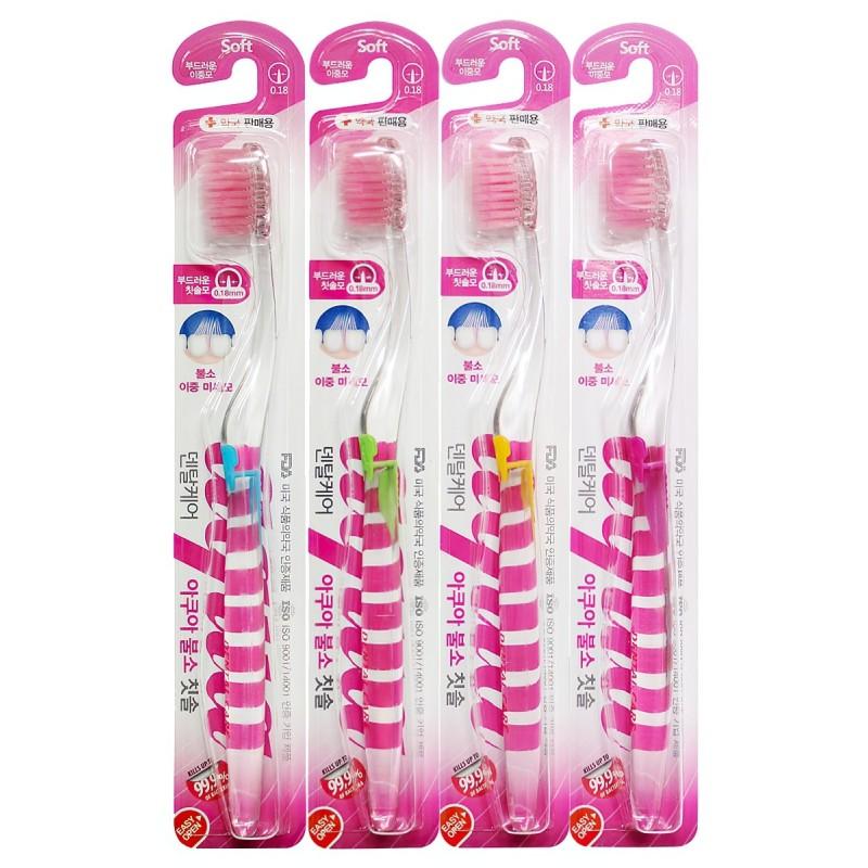 """Fluorine Toothbrush / Зубная щетка cо сверхтонкой двойной щетиной  (средней жесткости и мягкой) и прозрачной прямой ручкой """"Фтор"""""""