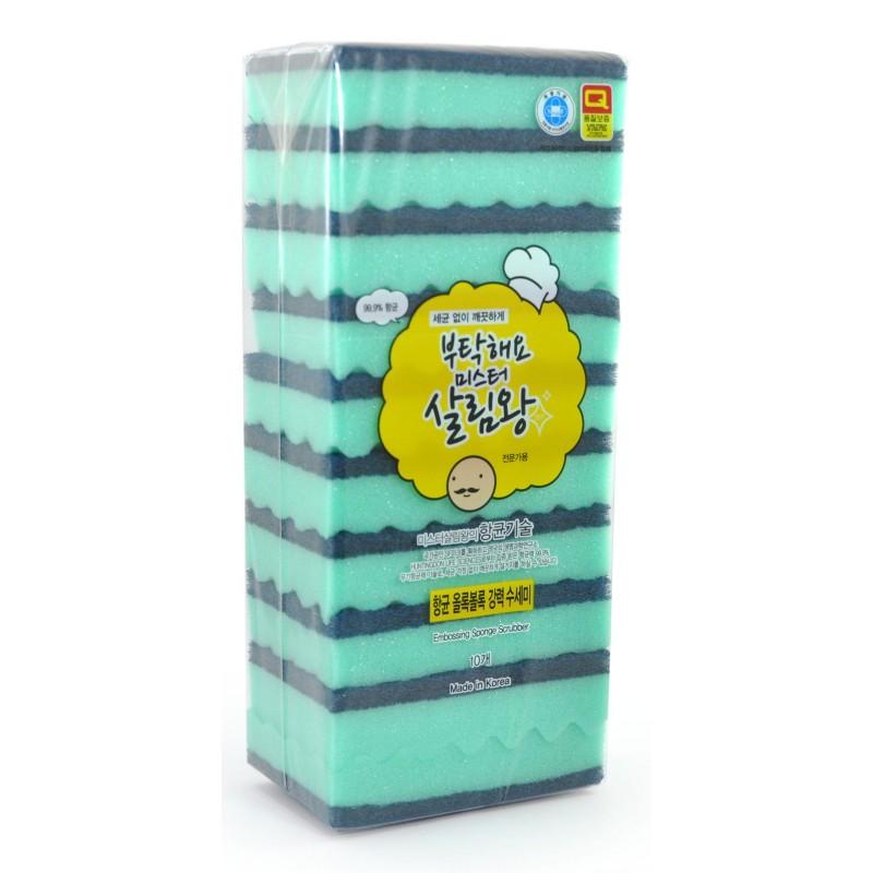 Sponge Scrubber / Губка для мытья посуды двухслойная,  верхний слой с абразивными волокнами