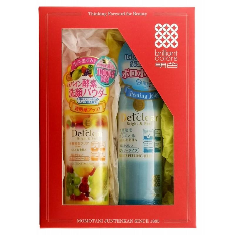 """MEISHOKU Detclear / Подарочный набор """"Двойное очищение"""" Пилинг - гель с эффектом легкого скатывания (без аромата),180 мл  + пудра для умывания, 75 г"""