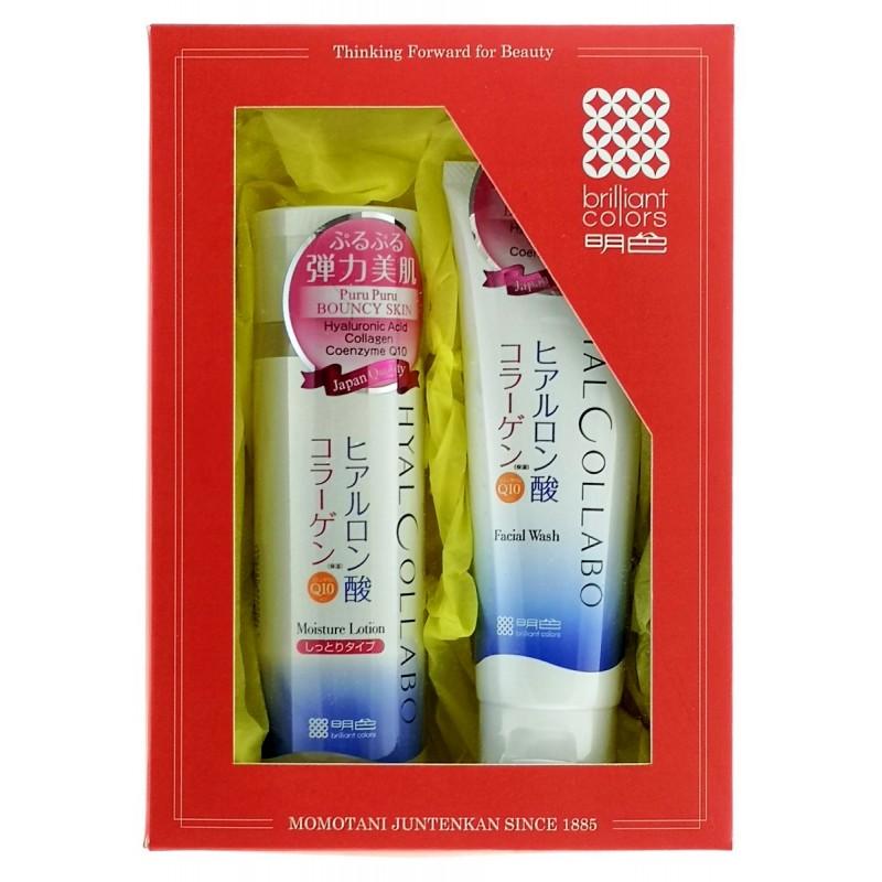 """MEISHOKU Hyalcollabo / Подарочный набор """"Очищение и глубокое увлажнение""""  Пенка для умывания,100 г + глубокоувлажняющий лосьон,180 мл"""