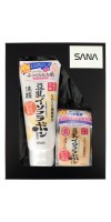 SANA Soy Milk / Подарочный набор «ВЕЧЕРНИЙ УХОД С ИЗОФЛАВОНАМИ СОИ» (Пенка для умывания и снятия макияжа увлажняющая, 150 г + Крем ночной питательный, 50 г)