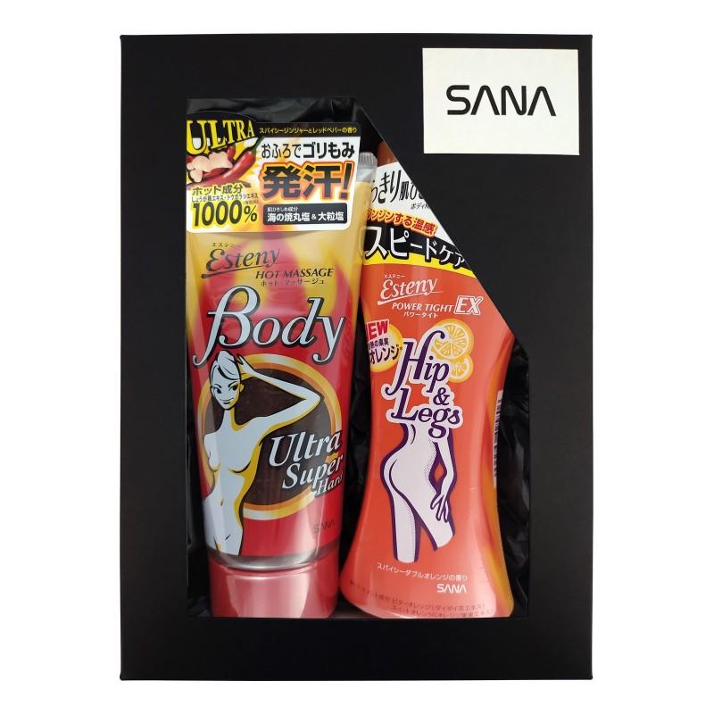 SANA Esteny / Подарочный набор «ПОДТЯНУТЫЙ СИЛУЭТ» (Массажный гель - скраб для тела c морской солью, 240 г + Массажная эмульсия для тела, 200 мл)