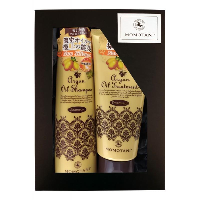MOMOTANI Argan Oil / Подарочный набор «ВОССТАНОВЛЕНИЕ И БЛЕСК» (Шампунь для волос с маслом арганы (без силикона), 290 мл + Бальзам для волос с маслом арганы (без силикона), 200 г)