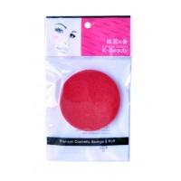Спонж косметический для очищения кожи лица в индивидуальной упаковке, красный