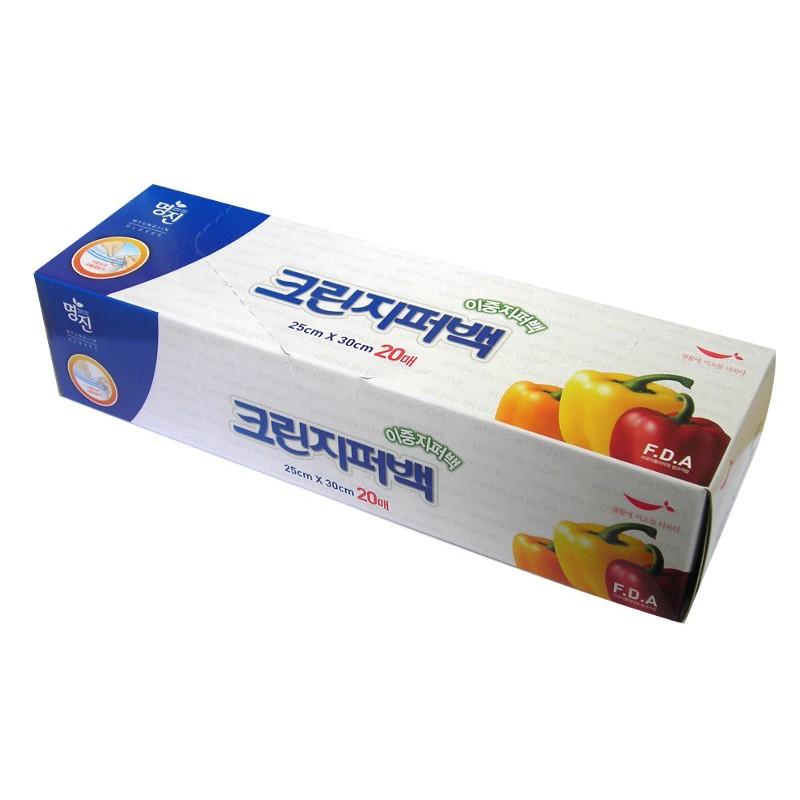 MYUNGJIN  BAGS Double Zipper type / Пакеты полиэтиленовые пищевые с двойной  застежкой – зиппером (в коробке) (25 см. x 30 см.)