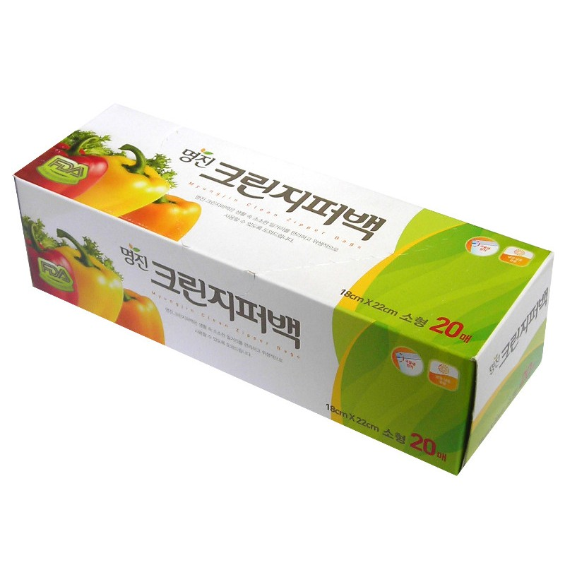 MYUNGJIN  BAGS Zipper type / Пакеты полиэтиленовые пищевые с застежкой – зиппером (в коробке) (25 см. x 30 см.)
