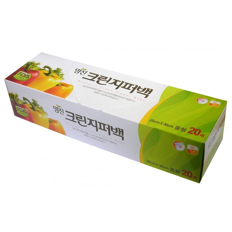 MYUNGJIN  BAGS Zipper type / Пакеты полиэтиленовые пищевые с застежкой – зиппером (в коробке) (18 см. x 22 см.)