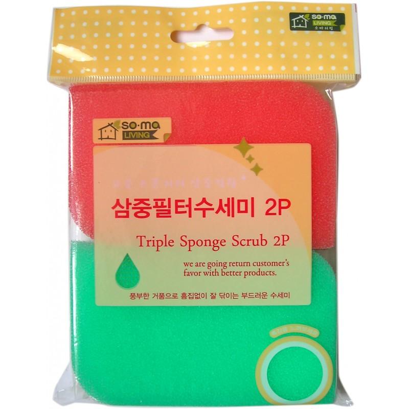 MYUNGJIN SPONGE Triple fiter scourer / Губка для мытья посуды трехслойная