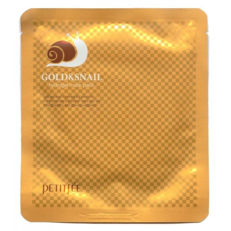 Маска для кожи лица гидрогелевая с золотом и экстрактом слизи улитки